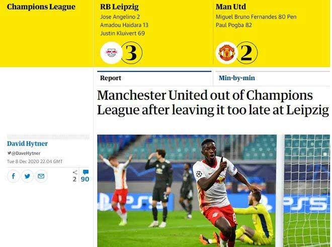 MU thua sốc trước Leipzig bị đá văng khỏi C1